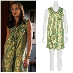 3.1 Phillip Lim green/Gold brocade Shift Dress 0